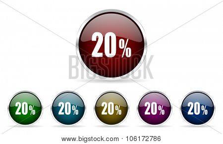 20 percent colorful glossy circle web icons set