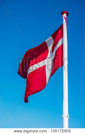 Denmark Flag On A Pole