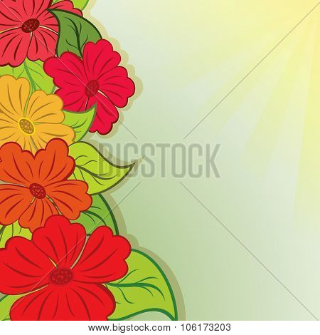 Summer flower bouquet background with copy space.