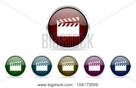 video colorful glossy circle web icons set