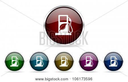 biofuel colorful glossy circle web icons set