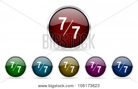 7 per 7 colorful glossy circle web icons set