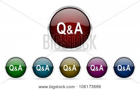 question answer colorful glossy circle web icons set