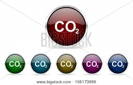 carbon dioxide colorful glossy circle web icons set