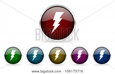 bolt colorful glossy circle web icons set