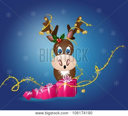 Reindeer With Jingle Bells And Gifts