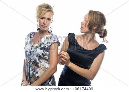Portrait of two sisters on white background