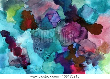 Abstract Artistic Watercolor Background Texture With Blue And Purple Brushstrokes