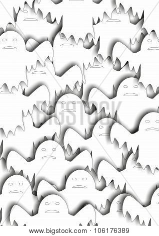 Many white  ghosts