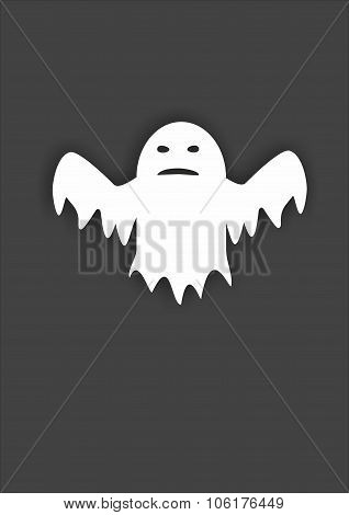 white ghost on gray background