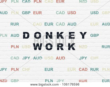 Finance concept: Donkey Work on wall background