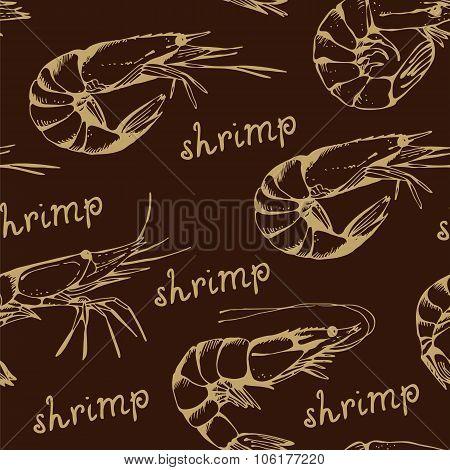 Seamless Shrimp Pattern