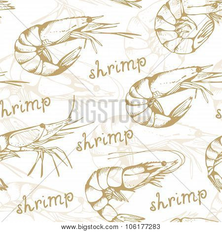 Seamless Shrimp Background