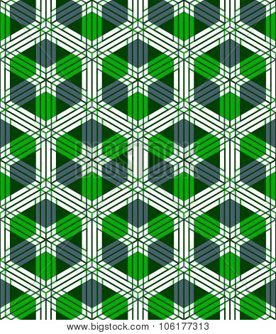 Illusive Continuous Colorful Pattern, Decorative Abstract Background With 3D Geometric Figures. Brig