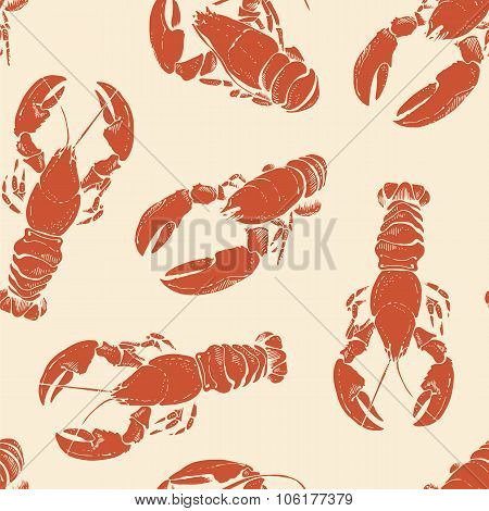 Lobsters Seamless Pattern