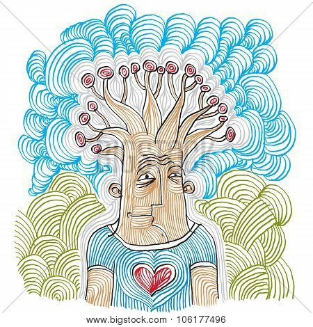 Intellectual Product Concept. Tree Of Life Idea Vector Illustration. Hand-drawn Picture Of Human