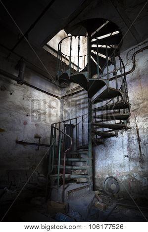 Spiral Staircase In An Abandoned Factory Building