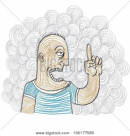 Man Pointing With Finger, Suggestion Concept. Vector Illustration Of Person Gesturing With Finger