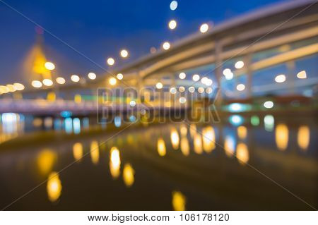 Abstract blurred bokeh light, suspension bridge intersection
