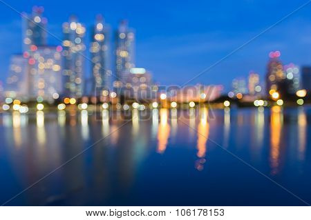Abstract blurred bokeh reflection lights city downtown