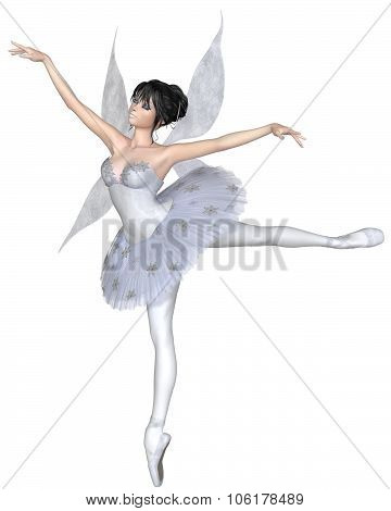 Snowflake Fairy Ballerina in Arabesque Pose