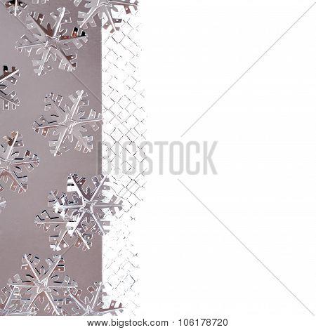 Christmas Border With Metallic Snowflakes