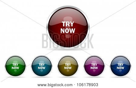 try now colorful glossy circle web icons set