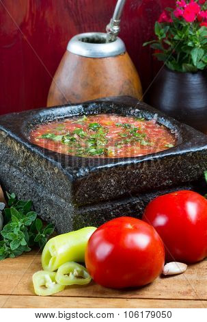 Traditional spicy tomato sauce of Latin America