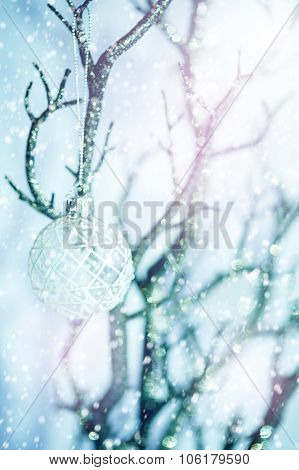 White Baubles On Silver Tree Under Snow