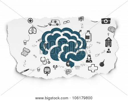 Health concept: Brain on Torn Paper background
