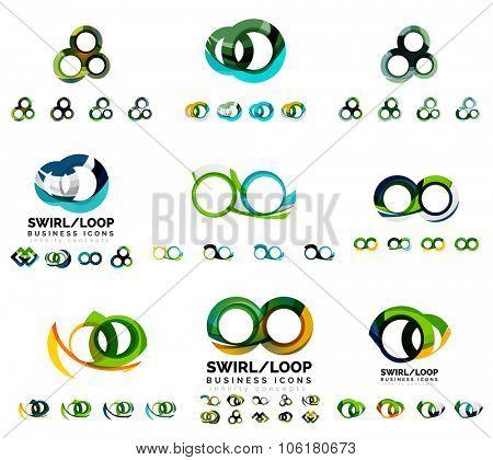 Set of company logotype branding designs, swirl infinity loop concept
