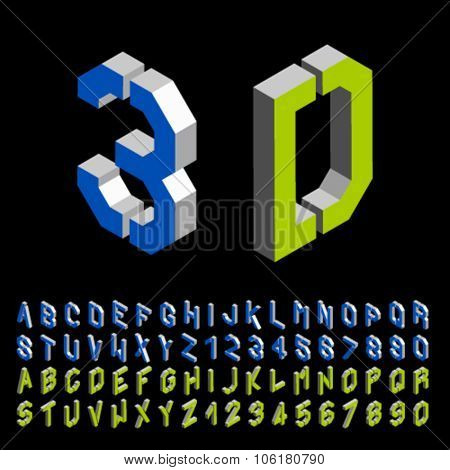 vector 3D stencil angular isometric font alphabet