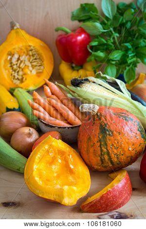 Sliced Pumpkin And Assorted Vegetables