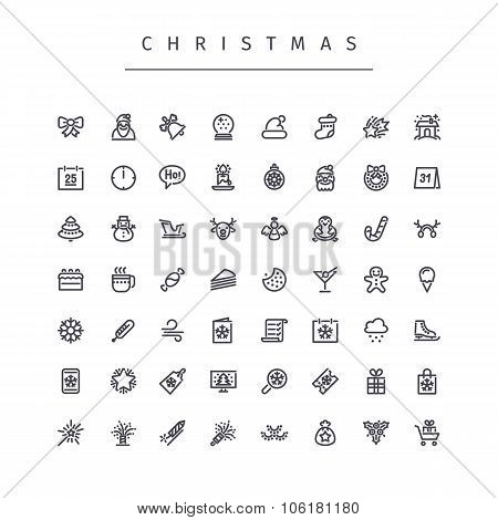 Christmas Outline Icons Set