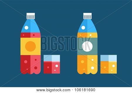 Water, soda and juice or tea bottles vector Illustration