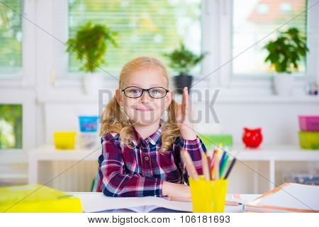 Pretty Girl In Glasses Learns At School