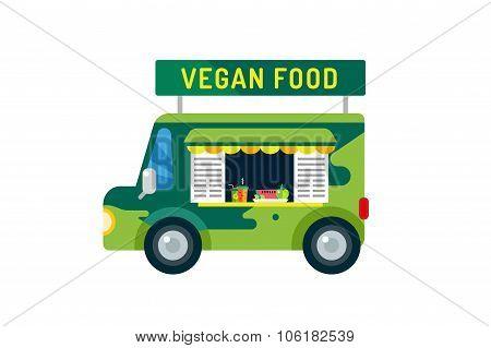 Vegan city food car van icon