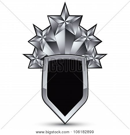 Branded Gray Geometric Symbol With Five Stylized Silver Stars, Best For Use In Web And Graphic Desig