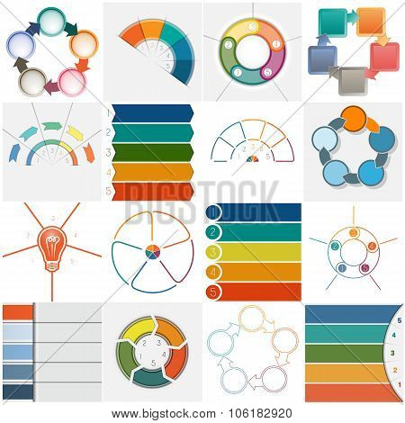 Set 16 Templates Infographics Cyclic Processes, Five Positions