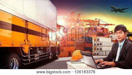 Working Man And Container Truck In Shipping Port ,container Dock And Freight Cargo Plane Flying Abov