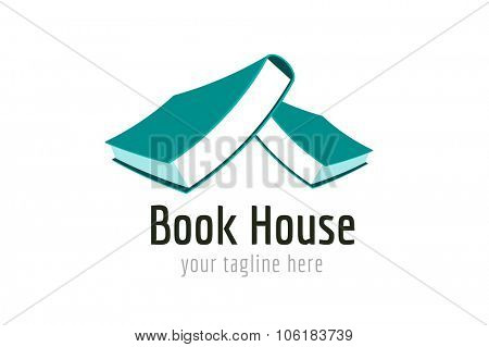 Books house vector logo. Books icons. Books home roof. Books isolated. Book logo. Books house. School books. Education books or university books symbol, book stack. Book vector, roof, library