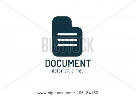 Abstract document paper sheet template logo icon. Back to school. Education, university, college symbol or knowledge, book, publish, page paper. Doc logo icon, paper sheet logo