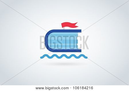 Books travel ship vector logo. Books and ship icons. Books skyscraper. Books isolated on white. Book logo. Books ship. Back to school books. Education books, university, books symbol, book stack. Book
