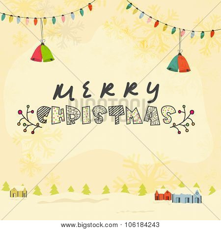 Beautiful greeting card with colorful Jingle Bells, Xmas Tree, huts and snowflakes on winter background for Merry Christmas celebration.