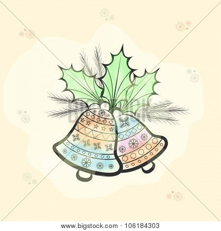 Colorful floral design decorated Jingle Bells with fir tree branches on Snowflakes decorated background for Merry Christmas celebration.