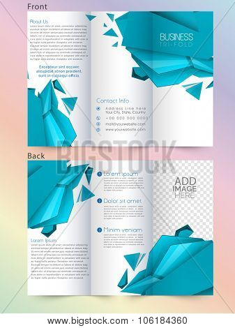 Creative abstract design decorated professional Business Trifold, Flyer, Banner or Template with front and back page presentation.