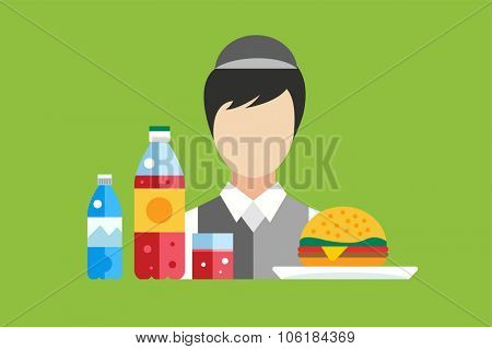 Fast food restaurant food vector objects set. Water bottle, juice or soda bottle and glass, hamburger. Mobile food, fast food worker, food marker seller, lunch time. Food icons. Food market
