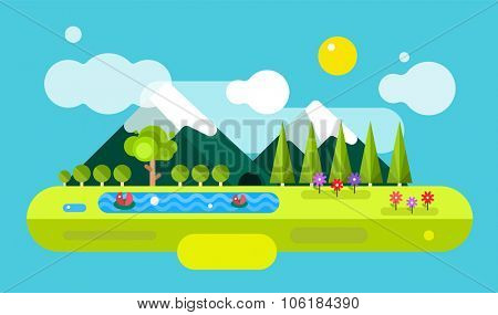 Abstract outdoor summer landscape. Trees and nature signs or outdoor, mountains, river or lake, sun, clouds, flowers, cave. Nature outdoor design elements. Tree silhouette. Green summer colors