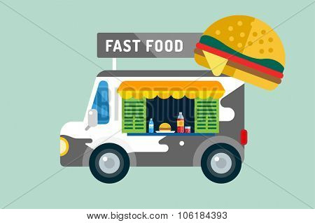 Fast food car van icon. Meat grilled product, hot dogs, hamburger, auto transport, transportation, mobile restaurant, fast food, lunch time. Fastfood city van silhouette isolated. Food car