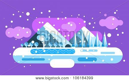 Abstract outdoor winter landscape. Trees and nature signs, mountains  frozen river lake. Snow, clouds, ice, cave. Winter landscape, Summer end, Winter travel, winter vacation, Winter hello